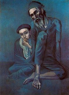 """Known as both """"Old Blind Man with a Boy"""" or """"Old Jew and a Boy"""" Pablo Picasso Blue Period - 1948 - Pushkin Museum, Moscow Kunst Picasso, Art Picasso, Picasso Blue, Picasso Paintings, Henri Matisse, Henri Rousseau, Georges Braque, Paul Cezanne, Monochromatic Paintings"""