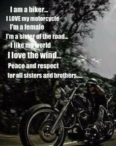 I am a sister of the road. Ride on! Bike Quotes, Motorcycle Quotes, Easy Rider, Biker Chick, Biker Girl, Lady Biker, Female Motorcycle Riders, Women Motorcycle, Biker Love