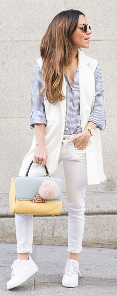 Stripes And White Outfit Idea by Peeptoes