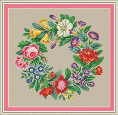 Berlin Woolwork Antique Multi-floral Wreath 4 Counted Cross Stitch PDF Pattern
