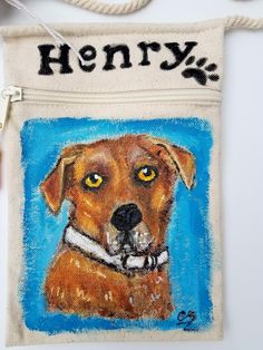 Custom Dog portrait bag on mini canvas cross body bag