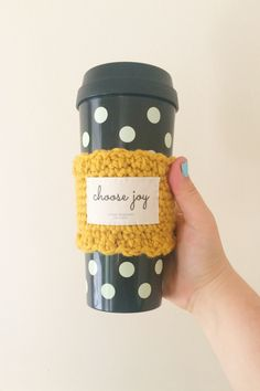 Mustard yellow 'choose joy' inspirational coffee cozy by Tokyo Blossom Boutique
