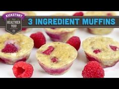 These healthy muffins are made with only 3 ingredients. They're perfect for breakfast or a snack, and couldn't be easier to make. Flourless and sugarless, you can put whatever berries you want inside and make these Healthy Muffin Recipes, Healthy Muffins, Healthy Treats, Healthy Desserts, Baby Food Recipes, Dessert Recipes, Cooking Recipes, Berry Muffins, Egg Muffins