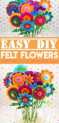 Easy DIY Felt Flowers - a bouquet of these pretty no-sew felt flowers makes a wonderful homemade Mother's Day gift idea! Easy enough for kids to make, but fun for adults, too! A sweet Mother's Day craft that the whole family will enjoy! via @hiHomemadeBlog