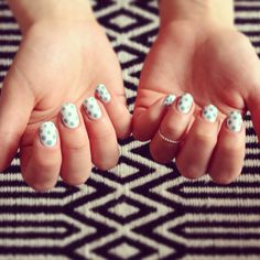 Mint polka dots for a sunday! #nails
