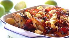 Here's a delightful Greek chicken, tomato and feta bake recipe. Ideal for the midweek with a glass of Lomond. Supper Recipes, Gf Recipes, Greek Recipes, Baking Recipes, Chicken Recipes, Greek Chicken, Small Chicken, Good Food, Chicken