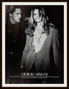 1991 Giorgio Armani Holt Renfew Advertisement. Vintage Giorgio Armani ad. Vintage Holt Renfew ad. Vintage fashion ad.