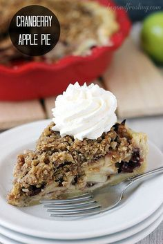Cranberry Apple Pie. Layers of apples tossed in brown sugar and maple syrup. Sweet dried cranberries and a crispy brown sugar streusel. (brown sugar syrup holidays)