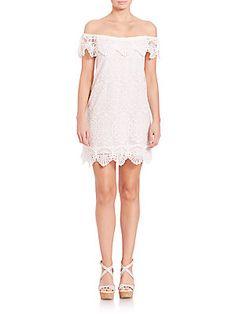 Nightcap Clothing Seashell Off-The-Shoulder Dress - White