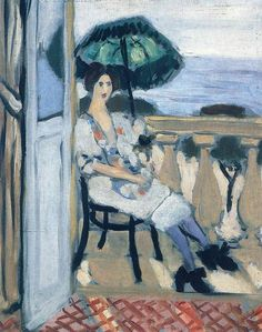 Woman holding umbrella by @matisseart #postimpressionism