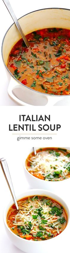 Italian Lentil Soup -- this delicious soup is easy to make, and so comforting! It's naturally vegetarian (or vegan), but feel free to add in Italian sausage if you'd like extra protein.