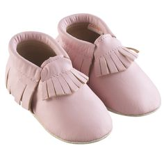 Rose Pastel > http://www.tichoups.fr/chausson-cuir-souple-sans-motif/chaussons-bebe-a-frange-rose-pastel.html