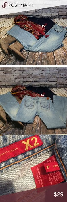 """SZ 8 LONG X2 BY EXPRESS LIGHT WASH BOOT CUT JEANS Great pair of jeans with a boot cut leg and light wash. Gently used. Lying flat Waist 16.5"""" inseam 33"""" Express Jeans Boot Cut"""
