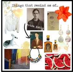 """""""Things that remind me of n.3 - Frida Kahlo"""" by ladylindy on Polyvore"""