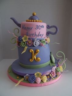 Topsy Turvy Mad Hatter Tea Party Wedge Birthday Cake, by Cakes In Bloom, Bloomington, Indiana