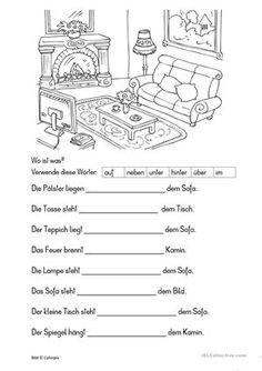 Die Schülerinnen und Schüler setzten die richtige Lokalpräposition in vorgefertigte Sätze ein. Sie beschreiben das Bild eines Wohnzimmers. Vokabular: Möbel, Einrichtung, Lokalpräpositionen - DaF Arbeitsblätter
