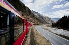 The Bernina Express en route Bernina Express, Train Route, Swiss Railways, Northern Italy, Lake Como, Travel Information, Train Travel, Alps, The Locals