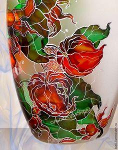 Купить Бутылка Физалис, витражная роспись в интернет магазине на Ярмарке Мастеров
