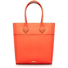 Rebecca Minkoff Adeline Tangelo Orange Leather Tote Bag (215 CAD) ❤ liked on Polyvore featuring bags, handbags, tote bags, orange, leather purse, orange tote, leather handbags, tote handbags y red leather handbag