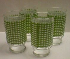 Set Of Four Green Gingham 14 Ounce Glasses Tumblers