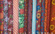 Flowers on Red Fabric