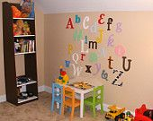 Alphabet Letters Set - Wooden Wall Letters-Unpainted-mixed fonts sizes -Nursery Letters- ABC Wall- Room decor- Ready to Ship-Sale 15% OFF. $55.25, via Etsy.