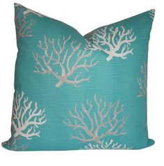 Add a little sea life to your beach decor with our Coral Turquoise Pillow. The linen look cotton fabric will withstand the rigors of daily handling while providing you with the chic style you are looking for. Pair with the Seahorse Turquoise Pillow  and the Stripe Turquoise Pillow . All pillows sold separately. #beachdecor #pillows #coral |StylishBeachHome.com   Size 18x18   Zipper closure.