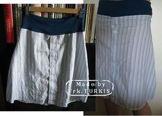 Jeg har fornylig lavet en billedvejledning til skjorteærme-bukser - og her kommer så et forslag til, hvad du kan lave af resten af skjorten...