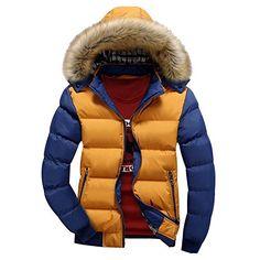Highdas Winter Warm Dick Hooded Zipper Daunen Jacke Mannlich Mantel Gelb/Blau M: Amazon.de: Bekleidung