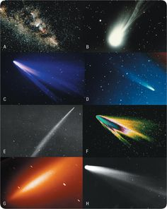 Figure 149: Comets. A) Comet Halley in Milky Way, February 1986; B) Comet Halley, February 1986; C) Comet West, March 1976; D) Comet Kohoutek, June 1973; E) Comet Ikeya-Seki, November 1965; F) Comet West, computer enhanced; G) Comet LINEAR, July 2000; H) Comet Hale-Bopp, March 1997.