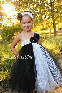 Black and White Lace Tutu Dress Flower Girls