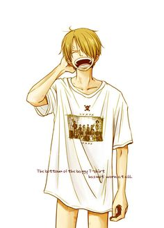 I'm not sure what the writing at the bottom exactly means but I like this picture very much. And is it just me or are those hickies on Sanji's thigh?