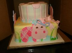 hippo bday cake - Made to match the hippo birthday decorations..hand made hippos and mmf