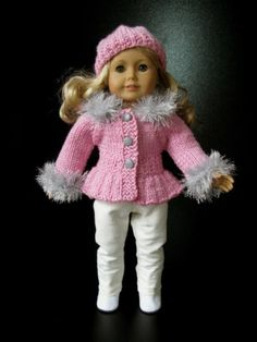 """last one! goes on sale tonight 11-17-13 PINK & BLING 18"""" American Girl AG DOLL clothes hand knitted 3 pc sweater set NR"""