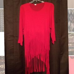 Red fringe hi-lo top Crop top length in front, t shirt length in back, red shirt with fringe. Worn once. Tops Blouses