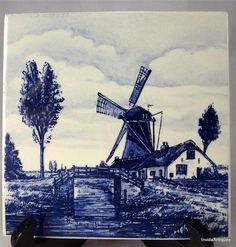 """Antique Windmill with Creek Bridge Blue & White Holland Delft 6"""" Tile Signed"""