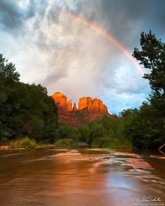 Sedona - Rainbow over Cathedral Rock taken at Red Rock Crossing