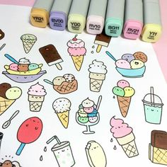Ice cream and milk shake kawaii doodles