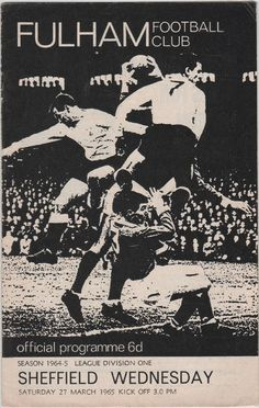 Vintage Football Programme - Fulham v Sheffield Wednesday, 1964/65 season, by DakotabooVintage, £3.99