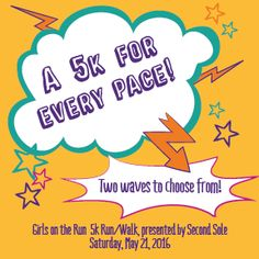 Girls on the Run 5k Run/Walk, presented by Second Sole on Saturday, May 21, 2016