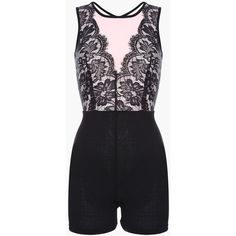 Black Lace + Mesh Skinny Romper ($44) ❤ liked on Polyvore featuring jumpsuits, rompers, playsuit romper, lace rompers and lace romper