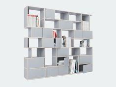 white custom wall storage shelf ideas