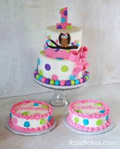 Bright Owl Cake with Polka Dots and a Bow for Twins - Bright Owl Cake with Polka Dots and a Bow plus two smash cakes for twins.