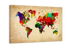 Images sur toile! 80 cm Nr 4138 de carte du monde pret a accrocher