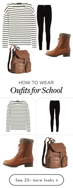 """""""Casual School Day"""" by zoec282 on Polyvore featuring J.Crew, 7 For All Mankind, Charlotte Russe and H&M"""