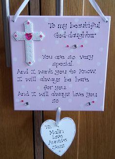 Personalised God Daughter Christening Godmother Baptism Poem Gift Plaque Sign