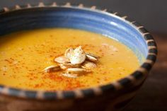 This spicy thai pumpkin soup is perfect for fall.