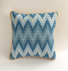 """Blue Zigzag Bargello Wool Needlepoint Cushion """"Items similar to Blue Zigzag Bargello Wool Needlepoint Cushion Cover on Etsy"""", """"Discover thousands of ima Bargello Patterns, Bargello Needlepoint, Bargello Quilts, Needlepoint Pillows, Needlepoint Stitches, Needlepoint Kits, Crewel Embroidery, Embroidery Kits, Embroidery Designs"""