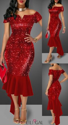 Off the Shoulder Asymmetric Hem Sequin Embellished Sheath Dress HOT SALES beautiful dresses, pretty Short African Dresses, Latest African Fashion Dresses, Elegant Dresses, Pretty Dresses, Sexy Dresses, Beautiful Dresses, Dinner Gowns, Birthday Outfit For Women, Lace Dress Styles