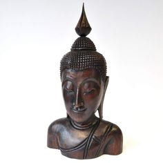Buddha Gesicht Thai Buddha Holz dunkel 23x12x40